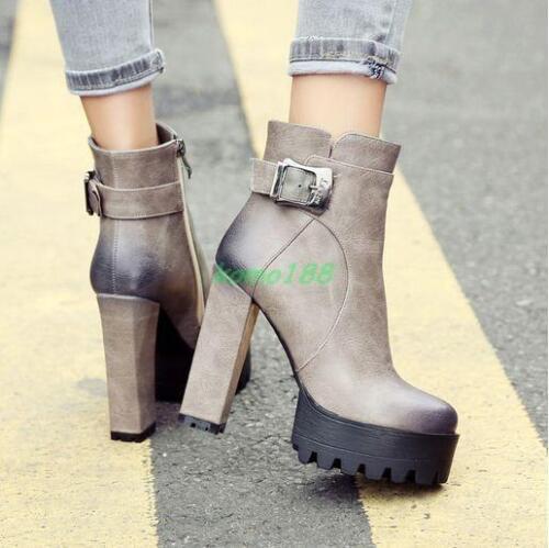 Fashion Womens punk Platform High Chuncky Heels Riding Ankle Boots zip Shoes Sz