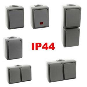 Schalter-Feuchtraum-Steckdose-Aufputz-Schuko-IP44-FR-Wechselschalter-aussen