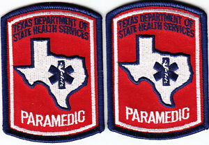 TWO PAIR OF PARAMEDIC TAB PATCHES  EMS EMT RESCUE Red White Blue