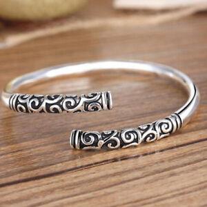 Handmade-Men-Women-Thai-Silver-Vintage-Bangle-Bracelet-Open-Cuff-Jewelry-Fashion