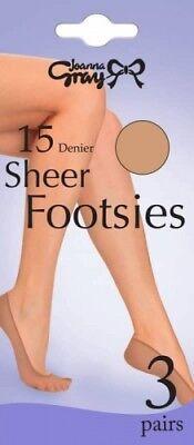 Ladies Women/'s Joanna Gray Sheer Footsies 3 Pairs 15 Denier One Size Natural