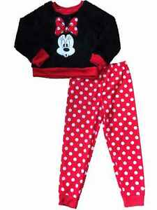 da40566e0 Girls Disney Minnie Mouse Fuzzy Pajamas Red   White Polka Dot Sleep ...