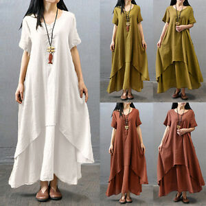 e3ca6f75283 Women Casual Ethnic Boho Linen Long Sleeve Maxi Dress Gypsy Blouse ...