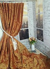 "NEW! Sublime Huge Bespoke French Damask Copper Gold 120""Long 54""W Lined Curtains"