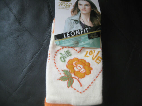 Ladies//Girls cotton socks by Leonfit size 5-7 or 3-5,Floral pattern