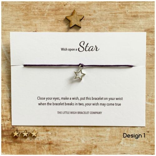 WISH UPON A STAR Wish Bracelet on a card Gift Friend family gift for her him