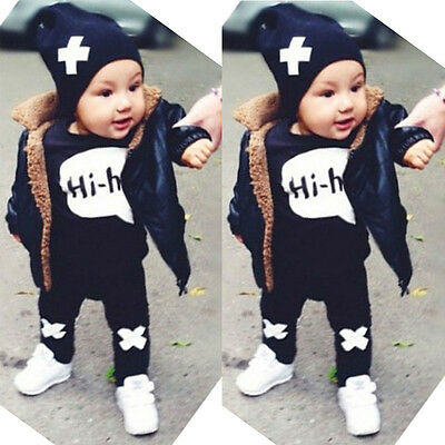 2pcs Baby Boy Kids Long Sleeve T-shirt Tops +Pants Outfit Suit Clothing Set