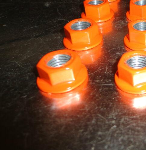 16 10mm x 1.25 ATV Lug Nuts Orange Powder Coated Honda Yamaha Kawasaki