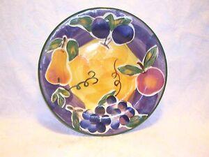 Hand-Painted-Scandicci-Fruit-Glaze-Ceramic-8-034-Salad-Plate-Purple-Blue-Gold-Green
