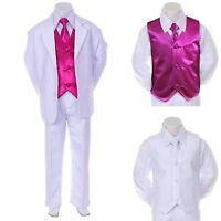Boy Teen Formal Wedding Party Prom White Suit Tuxedo + Fuchsia Vest Tie Set 8-14
