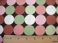 Brother Sister Retro Allover Green Pink Taupe Dots Brown Print Cotton Fabric
