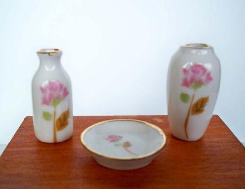 Coque de haute qualité miniature porcelaine vases 1:12