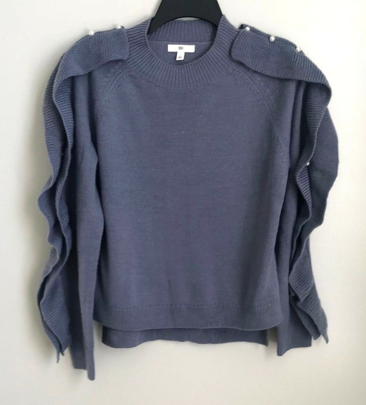 New Bp. Nordstrom Small bluee Imitation Pearl & Ruffle Trim Sweater