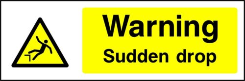 Adhesive Vinyl Waterproof Exterior Sticker SAFETY SIGN Warning Sudden drop