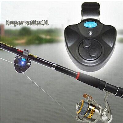New Electronic Fishing Bite Sound Alarm LED Light Alert Bell Clip On Fishing Rod