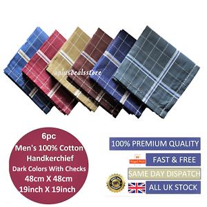 100-Cotton-Mens-Gents-Handkerchiefs-Hankies-Large-6pcs-Dark-Colour-48cm-19inch