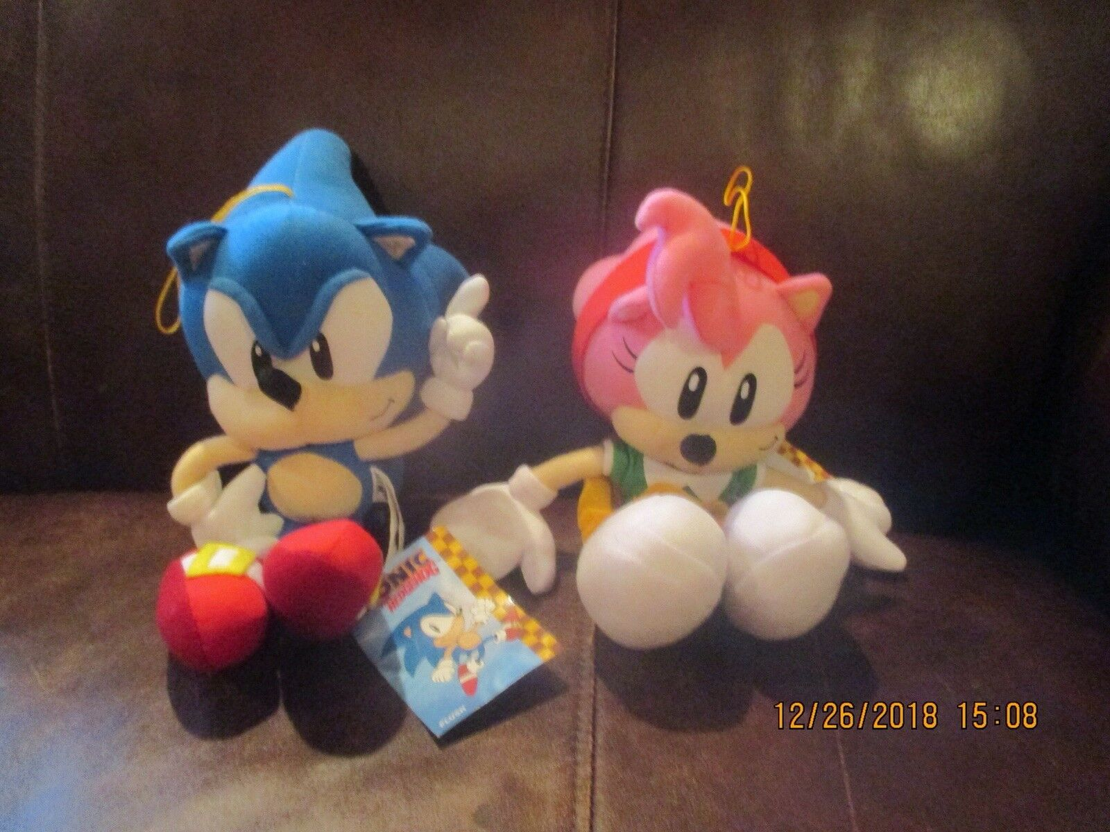GE Animation Sonic the Hedgehog - Classic Sonic & Amy pink Plush Set - MWT RARE