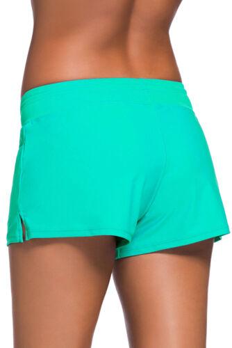 Swimwear Pants Ladies Full Coverage Swim Shorts Solid Drawstring Stretchy Bottom