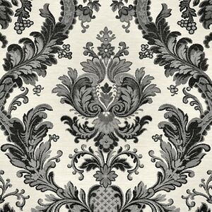 Image Is Loading Goodwood Black Damask Wallpaper On Light Grey Textured