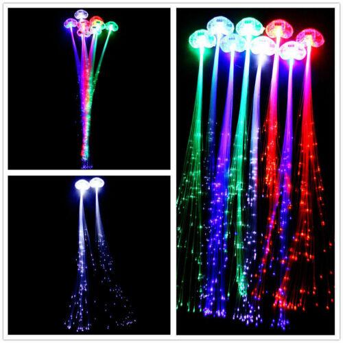 LED Fiber Optic Hairpin Light-Up Braid Luminous Hair Flashing Rave Party lot