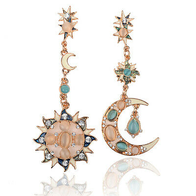 New Gold Star Sun Moon Crystal Rhinestone Stud Dangle Pretty Funky Earrings e