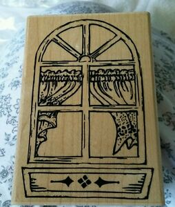 Stampendous-Fun-Stamps-1992-Quaint-Windowbox-Large-Rubber-Stamp-New-P06