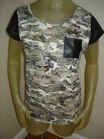 Wall Flower Camo Pocket Shirt T-shirt Juniors Large L