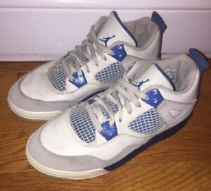 check out 1056f 65be9 Image is loading Nike-Air-Jordan-Retro-4-Military-Blue-Youth-