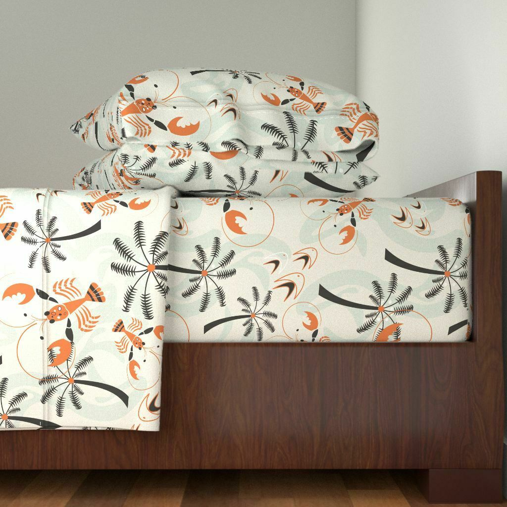 Retro Retro Mid Century Tropical 100% Cotton Sateen Sheet Set by Roostery
