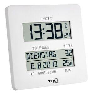 funkuhr wanduhr uhr mit temperatur gro es display wochentage time line 60450902 ebay. Black Bedroom Furniture Sets. Home Design Ideas