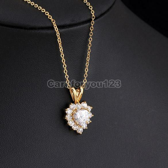 Charm 18k Gold Plated Love Heart Crystal Pendant Chain Long Necklace Jewelry