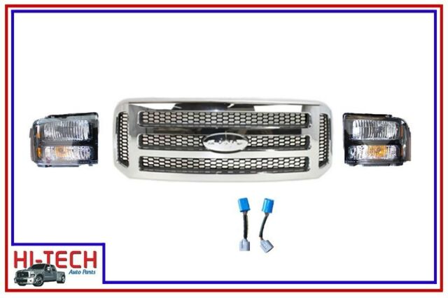 NEW 05 06 07 FORD F250 SUPER DUTY HD STYLE HEADLIGHTS W PIGTAILS AND GRILLE