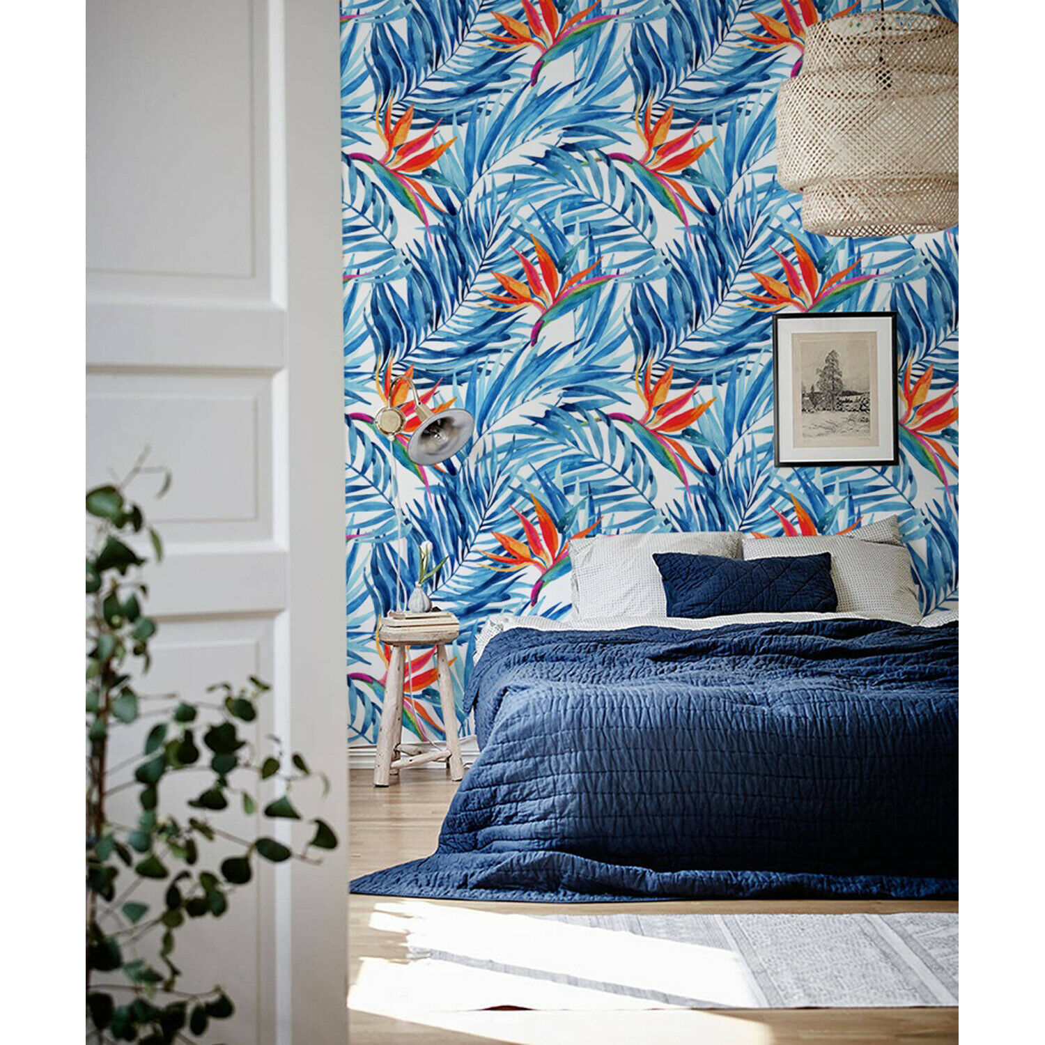 Exotic bluee Paradise Removable   Tropical Leaves   Self Adhesive