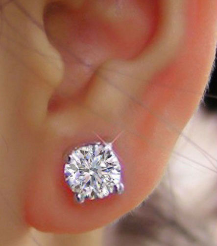 4.00 Ct VVS1//D Round Cut Studs Solitaire Diamond Earrings 14K Solid White Gold