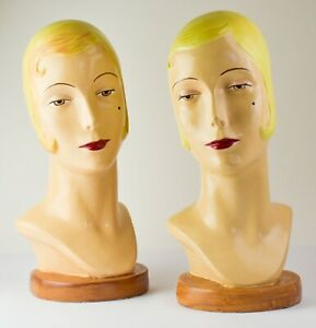 Set of 2 Vintage Katherine's Collection Women's Fashion Mannequin Heads  - PW6