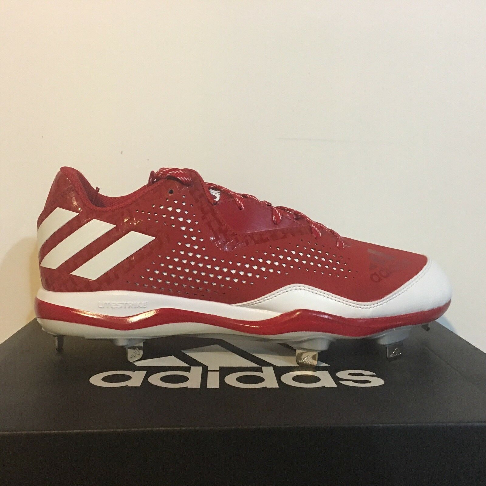NEW Adidas Power Alley 4 low Mens Metal Baseball Cleats Size 11.5 RED