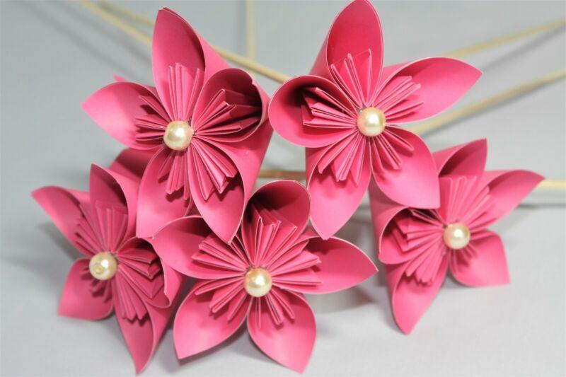 10 Papel De Origami Kusudama Flores En Rosa Flor, Boda, Ramo,