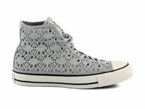 cheap for discount 4b8d1 33a86 Dettagli su SCARPE CONVERSE DONNA ALL STAR HI CHUCK TAYLOR CT MERLETTO  GRIGIO 556773C