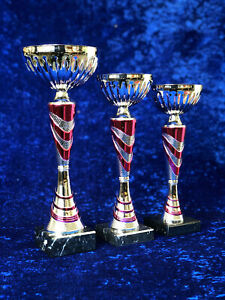 Blue Silver Trophy Award Competition Sport Achievement Gift FREE engraving