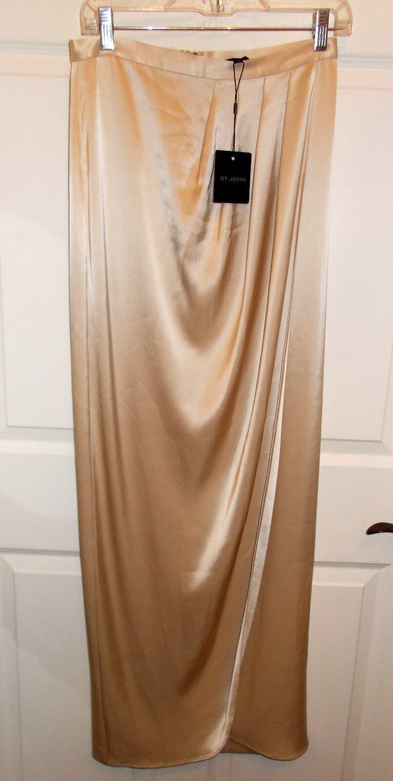 NWT ST. John Champagne Satin Long Evening Skirt Sz 4