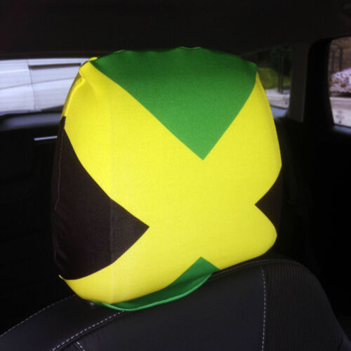 Jamaica Country Flag Design Car Seat Head Rest Covers Pack Of Two Accessory Gift