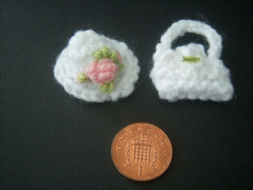 Handmade Miniature Dolls House 1//12th scale Knitted Hat and Bag sets various