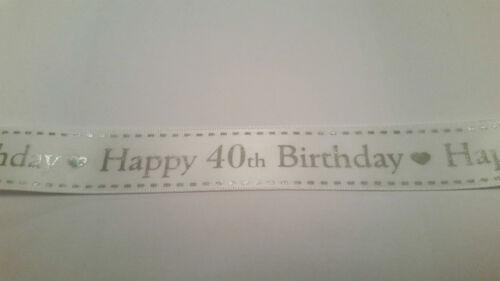 Anniversaire ruban 1 M 3 m 5 m blanc satin 25 mm Bertie Bows Célébration Gâteau Wrap Bow