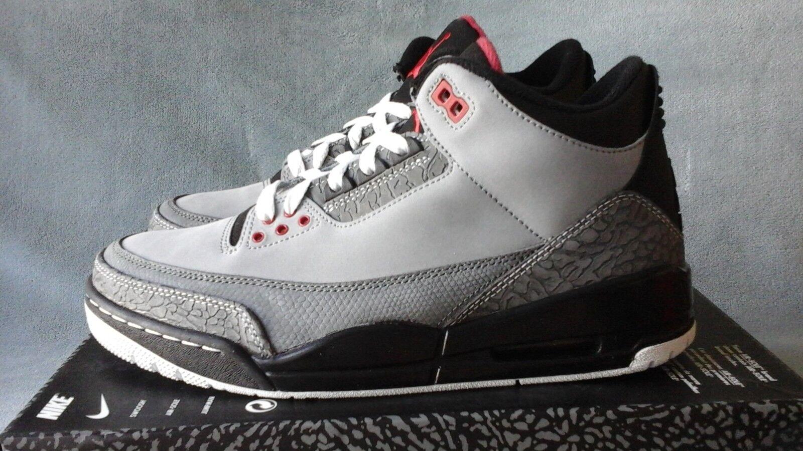 2011 Nike Air Jordan 3 Retro Grey Stealth 136064-003 Size 9