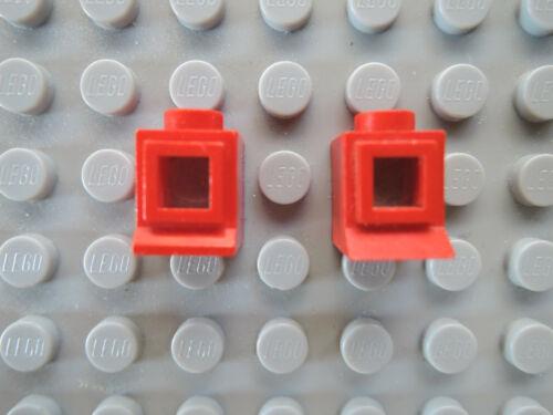 Lego 2 x Fenster Nr 39bc01 rot  1x1x1 mit Glas Scheibe   Fensterbank