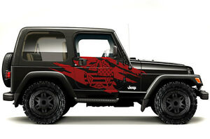 Custom-Vinyl-Graphics-Decal-Wrap-Kit-for-99-06-Jeep-Wrangler-Torn-Army-Star-RED