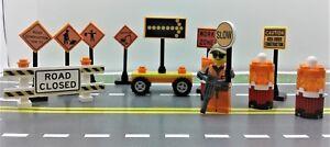 Lego-City-TOWN-VILLAGE-CUSTOM-construction-site-Traffic-signs-MINI-FIGURE