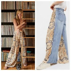 1fa4771f17 Details about NEW Free People Coming & Going Printed Wide Leg Jeans Size 30  We The Free