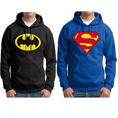 Superior Men Superman Batman Print Fleece Pullover Hood Hoodie Sweatshirt Tops