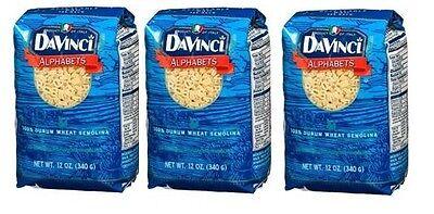 3 Bags DaVinci Alphabet Pasta 12oz/340g Each